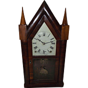 """REDUCED Rare Lyre Harp Frame """"Terry & Andrews"""" 8 Day Steeple Clock with original"""