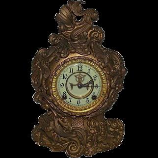 "REDUCED Very Rare Ansonia ""Portia"" Model Baroque Mantle Clock Case with Original Antique Gold/Bronze Paint !!!  Circa 1890's."