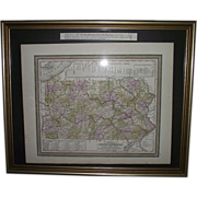 """REDUCED Early """"Canals & Railroads Map"""" of Pennsylvania Printed Circa 1850-55 !!!"""