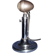 """REDUCED Streamlined RCA Bullet Microphone Model """"M1-12016G"""" with Chrome Desk Stand C"""