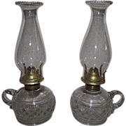 "PAIR of ""Diamond Sunburst"" Pattern Finger Lamps with a Glass Gaffer Applied Finger Loop Circa 1870's !!!    No Cracks or Chips."