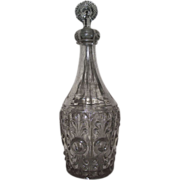 "REDUCED Rare ""Bullseye Fleur-Di-Lis"" Pattern 3 Part Blown/Molded Decanter Circa 1860"