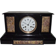 "REDUCED French ""Japy Freres"" marked Black Stone & Brown Marble Mantle Clock with"