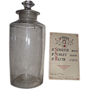 "REDUCED Large Blown Glass Apothecary Jar Circa 1860's with Doctor's ""Last Call Service .."