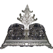 """Mint """"Nickel Plated Ink Stand"""" Desk Set Circa 1895 !!!"""