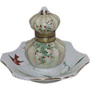 Ladies Inkwell with Artist Hand Painted with Birds & Green Sprigs with Berries  !