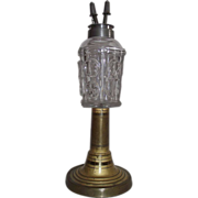 Rare Base on an Early Fluid lamp with Restored Pewter Camphene Burner !!!  Circa 1850 Star & Moon Pattern.