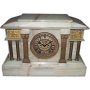 """REDUCED Near Mint Ansonia Onyx Stone Mantle Clock with """"Tri-Color Dial & Exposed Ruby"""
