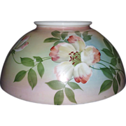 """Antique 14 inch Blown Glass Library Lamp Shade with Original Factory Artist Painted """"Flower"""" Decorations with overall Pink, Blue & Green background shading !!! Circa 1890."""