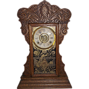 """REDUCED Ansonia """"Capitol #44"""" Model Steam Pressed Oak Shelf Clock with  8 Day Time,"""