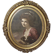 Civil War Period Gilt Plaster Decorated Oval Frame with Print of Woman holding Dog ! Circa 1860 to 1880.