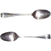 "REDUCED American Colonial Pair of Silver Spoons Signed ""CH"" inside Block Form, found"