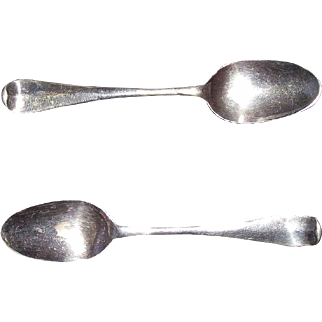 """REDUCED American Colonial Pair of Silver Spoons Signed """"CH"""" inside Block Form, found in Lancaster County Pennsylvania, Circa 1763 to 1824 !!!"""