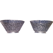 """Matching Pair of acid etched """"Flowers"""" Pattern Gas Shades with 4 inch base Fitters !!! Ca. 1900."""