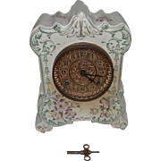 "REDUCED Ansonia ""Cherokee"" marked China Case Clock with Raised Bell Flowers Circa 18"