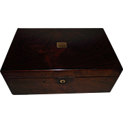"Rosewood Travel Desk with English marked ""NETTLEFOLD * VR PATENT"" below a crown on the Brass Lock with 3 Secret Compartments  !!! Circa 1837 to 1860's."