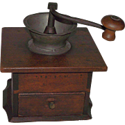 """Signed """"Miller"""" Dovetailed Cherry Coffee Grinder/Mill with Pewter Spout & Original Finish Circa 1840 to 1850's !!!"""