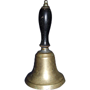 "Teacher's Large ""Brass Hand Bell"" with Black Painted Hardwood Handle Circa 1885 !"