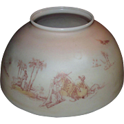 """Antique """"Camel Desert Scene"""" 14 inch Blown Glass Library Lamp Shade with Original Fa"""