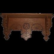 "Solid Oak ""Eastlake Wall Shelf"" with Carved ""Tree & Geometric Stars"" Circa"