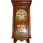 """Rare Small """"Cigar Store"""" 8 Day Advertising Clock with Time & Strike  in a Solid Oak"""