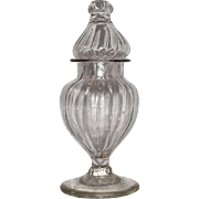 "Rare Miniature Blown ""Pillar Molded"" Pattern Show Jar with Perfect Lid for an Apothe"