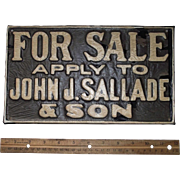 "Vintage ""For Sale * apply to John F. Sallade & Son"" Porcelain Metal Sign from a Read"