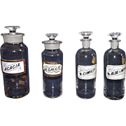 REDUCED Set of 4 Blown Molded Drug Store Jars with Glass Labels Circa 1880 !!!