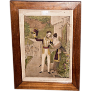 """REDUCED """"The Soldier's Adieu"""" Print Circa 1845 with Solid Black Walnut Frame  (Lith."""