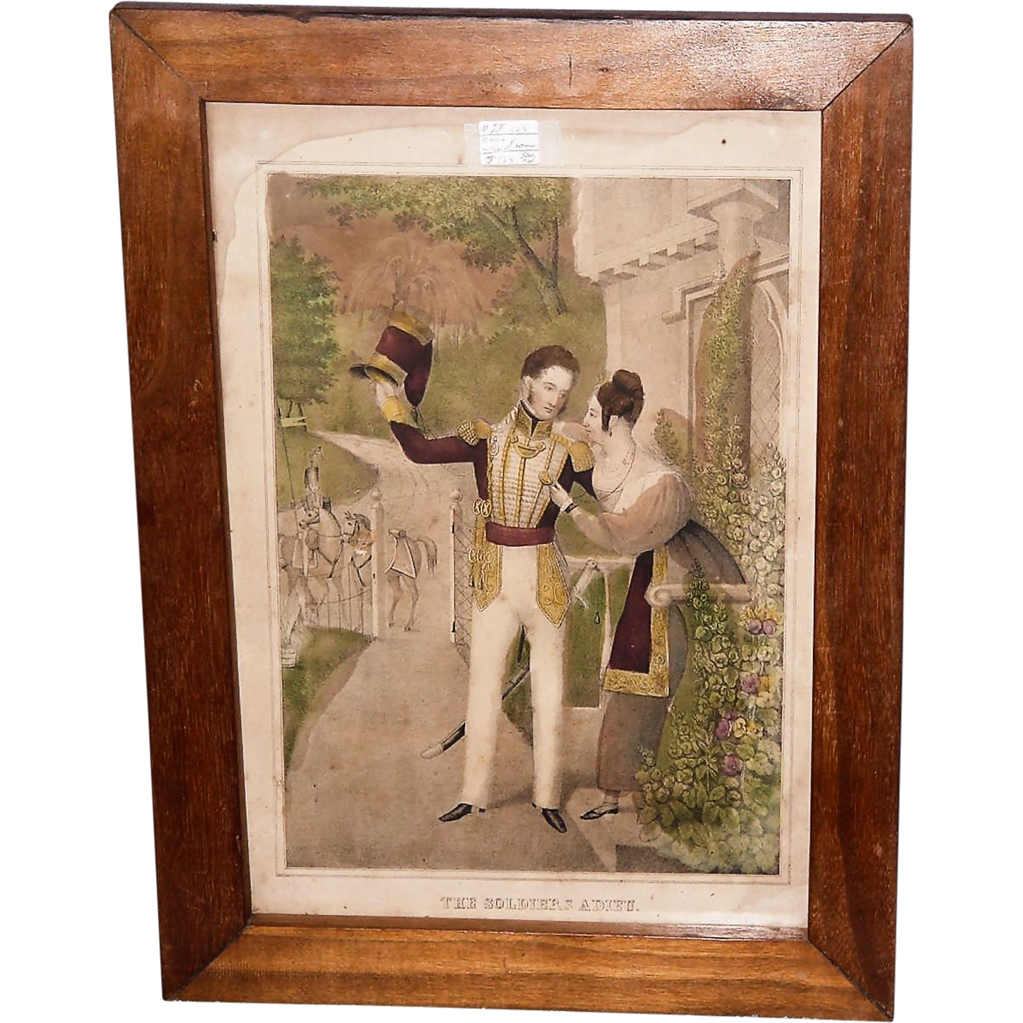"""The Soldier's Adieu"" Print Circa 1845 with Solid Black Walnut Frame  (Lith. & Pub. by J. Baillie, N.Y.)"