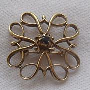 Sterling Vermeil & Sapphire Collar Pin