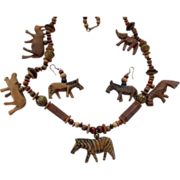 Hand Carved Wood Safari Animal Set