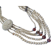 XL Carved Bone & Red Agate Elephant Necklace