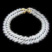 SALE Napier White Enameled Chain Necklace