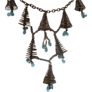 Festooning Wire Cone & Blue Crystal Necklace