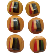 SOLD Rainbow Striped Bakelite Buttons