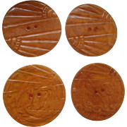 4 Carved Applejuice Bakeite Buttons