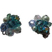 Eugene Blue Glass Cluster Earrings