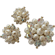Pearly White Cluster Earrings & Brooch