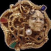 Florenza Devil Hannya Noh Mask dragon Brooch Unsigned