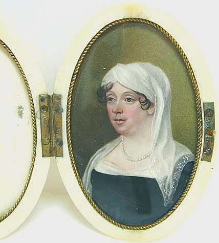 18th c. Woman in White Headdress - Miniature in Case