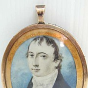 18th c. Miniature Gent with Plaited Hair Back in 10K Gold Frame