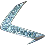 Stunning 14K White Gold and Diamonds Vintage Modernist Ring