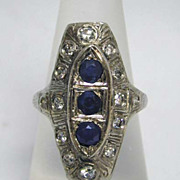 Exquisite BIG 18K White Gold, Diamond Sapphire Classic Art Deco Ring