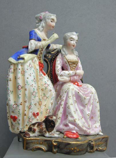 Exquisite c. 1850 Figural Pirkenhammer Porcelain Group by Christian Fischer