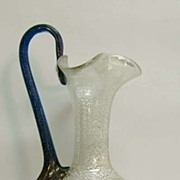 Silver Flecked Vintage Murano Glass Ewer