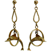 Fabulous and Fun Vintage 14K Gold Dolphins in Hoops Earrings