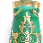 Tall, Delicate Emerald Green and Gold Art Nouveau Vase