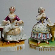 Exquisite 19th c. Pair of MIniature Porcelain Figurines