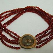 Georgian 9 KT Gold Monogrammed Hair Clasp Carnelian Mourning Bracelet